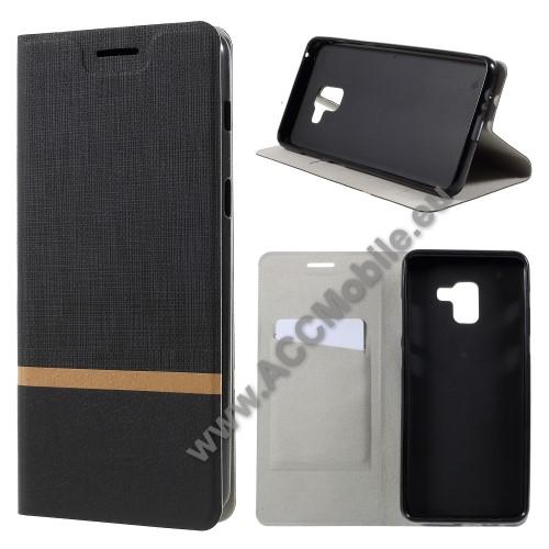 Notesz tok / flip tok - FEKETE - asztali tartó funkciós, oldalra nyíló, bankkártyatartó zseb, szilikon belső - SAMSUNG SM-A730F Galaxy A8 Plus (2018)
