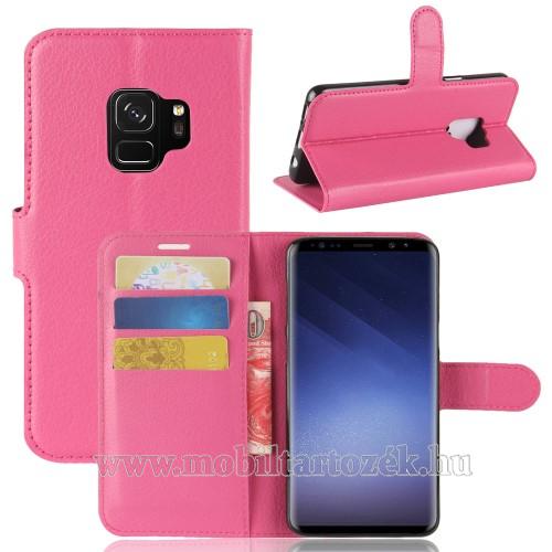 WALLET notesz tok / flip tok - MAGENTA - asztali tartó funkciós, oldalra nyíló, rejtett mágneses záródás, bankkártyatartó zseb, szilikon belső - SAMSUNG SM-G960 Galaxy S9