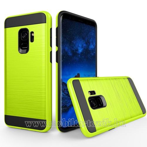 OTT! Brush műanyag védő tok / hátlap - VILÁGOS ZÖLD - szilikon betétes, szálcsiszolt mintázat - ERŐS VÉDELEM! - SAMSUNG SM-G960 Galaxy S9