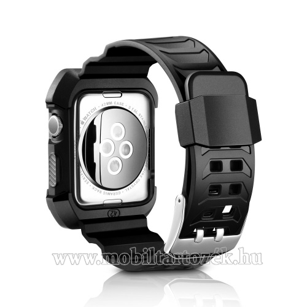 Szilikon védő tok / keret - szilikon szíj, ütésálló - FEKETE - Apple Watch 1 / 2 / 3  42mm