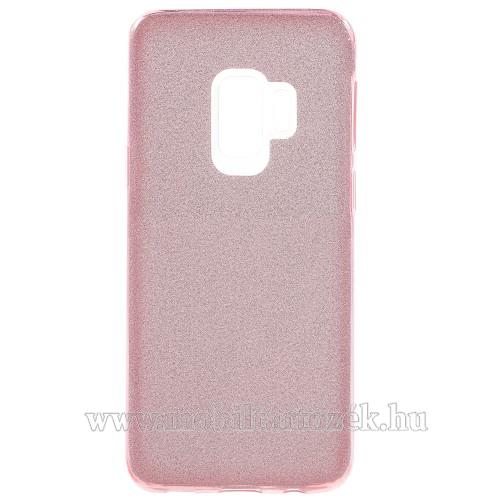 Mûanyag védõ tok / hátlap - szilikon keret - Csillámos - RÓZSASZÍN - SAMSUNG SM-G960 Galaxy S9