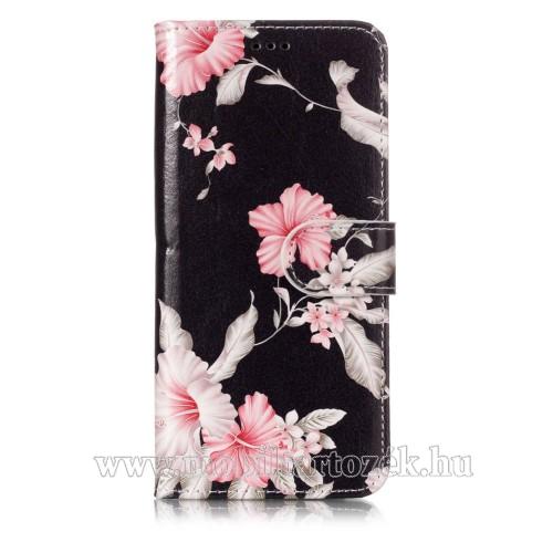 Notesz tok / flip tok - VIRÁG MINTÁS - asztali tartó funkciós, oldalra nyíló, rejtett mágneses záródás, bankkártya tartó zseb, szilikon belső - SAMSUNG SM-G960 Galaxy S9