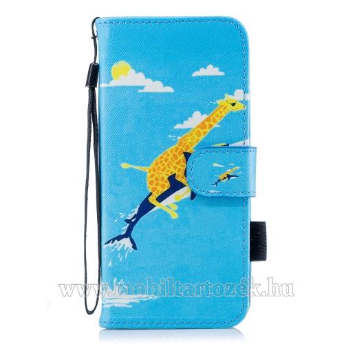Notesz / mappa tok - ZSIRÁF MINTÁS - oldalra nyíló, rejtett mágneses záródás, belső zseb, asztali tartó funkció, szilikon belső - SAMSUNG SM-G960 Galaxy S9