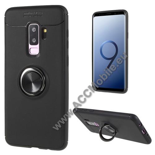 OTT! METAL RING szilikon védő tok / hátlap - FEKETE - fém ujjgyűrű, tapadófelület mágneses autós tartóhoz, ERŐS VÉDELEM! - SAMSUNG SM-G965 Galaxy S9+