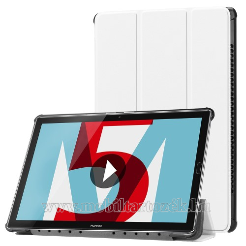 Notesz / mappa tok - FEHÉR - oldalra nyíló flip cover, TRIFOLD asztali tartó funkciós, mágneses záródás - HUAWEI MediaPad M5 10 (2018) / HUAWEI MediaPad M5 10 Pro (2018)