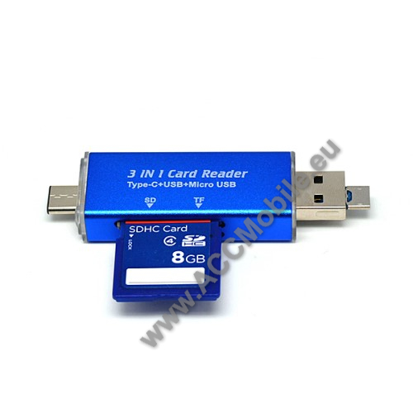 Type-C / microUSB kártyaolvasó SD / TF kártyához + USB 2.0 OTG funkció - KÉK