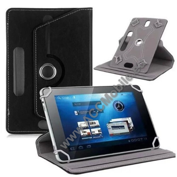 HUAWEI MediaPad T5 10UNIVERZÁLIS notesz / mappa tok - álló, oldalra nyíló, asztali tartó funkcióval, 360°-ban elforgatható - FEKETE - 9-10