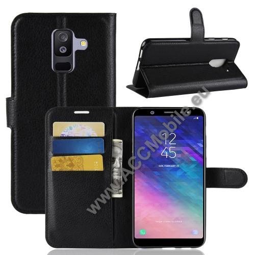 Notesz tok / flip tok - FEKETE - asztali tartó funkciós, oldalra nyíló, rejtett mágneses záródás, bankkártyatartó zseb, szilikon belső - SAMSUNG SM-A605G Galaxy A6 Plus (2018)