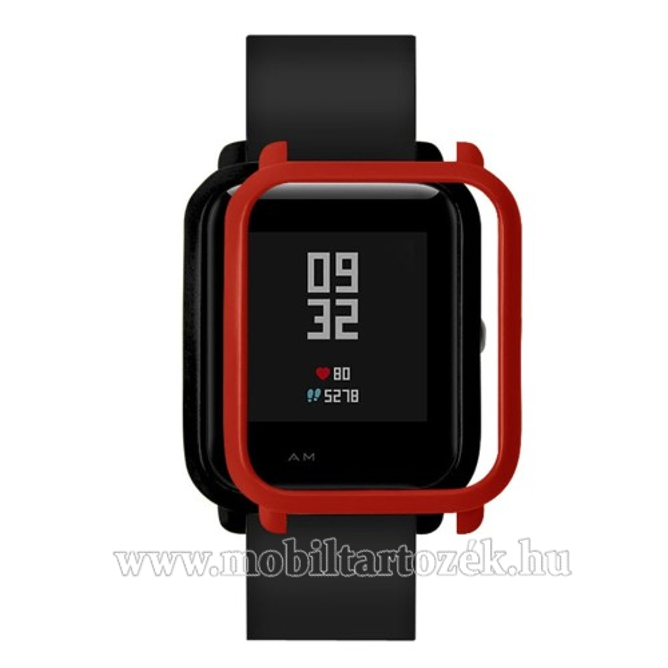 Műanyag védő tok / keret - PIROS - Xiaomi Amazfit Bip / Huami Amazfit Smart Watch Youth Edition