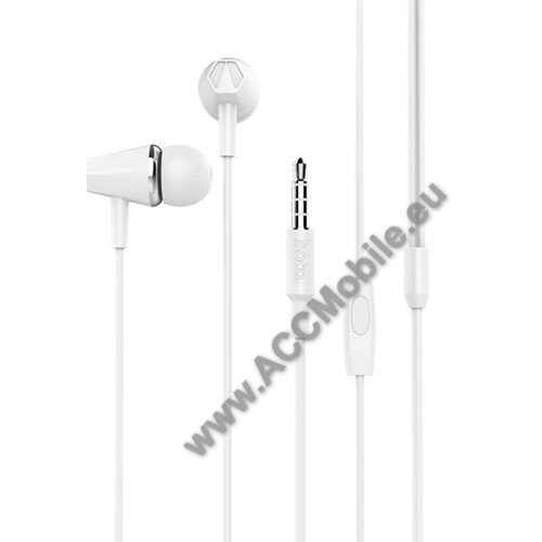 HUAWEI MediaPad T5 10HOCO M34 sztereo headset - 3,5mm Jack, mikrofon, felvevő gomb, 1,2 m vezetékkel - FEHÉR