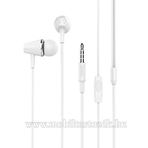 HOCO M34 sztereo headset - 3,5mm Jack, mikrofon, felvevő gomb, 1,2 m vezetékkel - FEHÉR