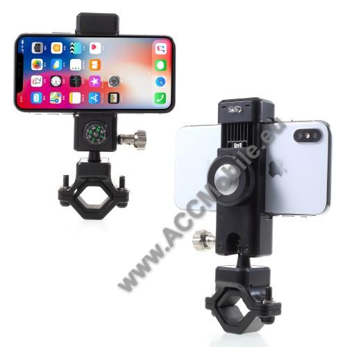 UNIVERZÁLIS telefon tartó kerékpár / bicikli - FEKETE - elforgatható, iránytű, LED-es lámpával - 50-90 mm-ig nyíló bölcsővel