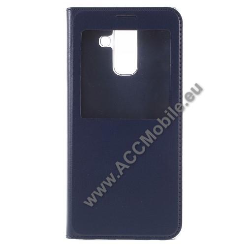 Notesz / flip tok - KÉK - oldalra nyíló ablakos flip cover, hívószámkijelző kivágás, műanyag belső - SAMSUNG SM-A600F Galaxy A6 (2018)