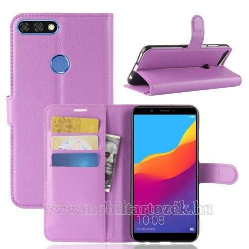 Notesz tok / flip tok - LILA - asztali tartó funkciós, oldalra nyíló, rejtett mágneses záródás, bankkártyatartó zseb, szilikon belső - HUAWEI Honor 7C (2018) / HUAWEI Enjoy 8 (2018) / HUAWEI Y7 Prime (2018)
