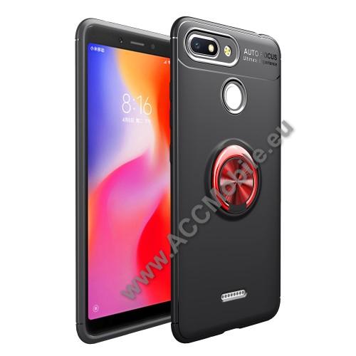OTT! METAL RING szilikon védő tok / hátlap - FEKETE / PIROS - fém ujjgyűrű, tapadófelület mágneses autós tartóhoz, ERŐS VÉDELEM! - Xiaomi Redmi 6