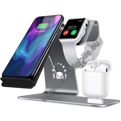 3 az 1-ben Apple Watch, Airpods és iPhone asztali tartó Qi Wireless asztali töltő funkcióval, 10W, gyors töltés - EZÜST