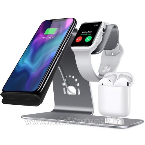 3 az 1-ben Apple Watch, Airpods és iPhone asztali tartó Qi Wireless asztali töltő funkcióval, 10W, gyors töltés - Apple Watch vezetéknélküli töltő NEM TARTOZÉK! - SZÜRKE