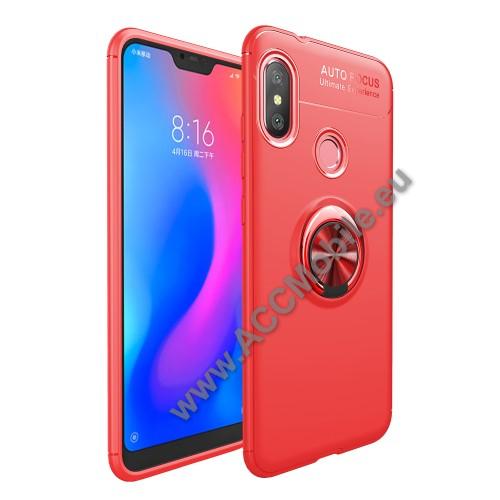 OTT! METAL RING szilikon védő tok / hátlap - PIROS - fém ujjgyűrű, tapadófelület mágneses autós tartóhoz, ERŐS VÉDELEM! - Xiaomi Redmi 6 Pro / Xiaomi Mi A2 Lite