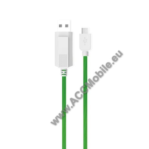 APPLE iPad Pro 11 (2018)KUCIPA Luminous 2A adatátvitel adatkábel / USB töltő - USB / Type-C, 1m - sötétben világít - ZÖLD