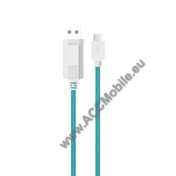 KUCIPA Luminous 2A adatátvitel adatkábel / USB töltő - USB / Type-C, 1m - sötétben világít - KÉK