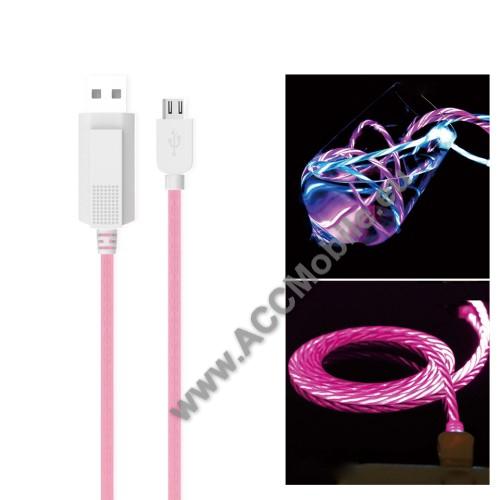 HUAWEI MediaPad T5 10KUCIPA Luminous 2A adatátvitel adatkábel / USB töltő - USB / microUSB, 1m - sötétben világít - RÓZSASZÍN