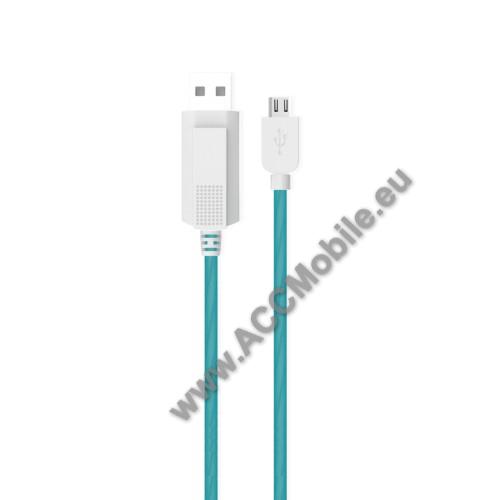 HUAWEI MediaPad T5 10KUCIPA Luminous 2A adatátvitel adatkábel / USB töltő - USB / microUSB, 1m - sötétben világít - KÉK