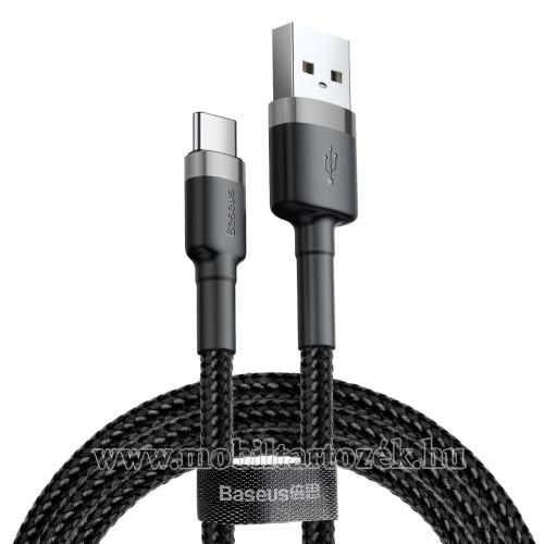 BASEUS Kevlar Series 3A adatátviteli kábel, USB töltő - Type-C / USB, 1m, szövettel bevont, 5V/3A és 9V/2A gyorstöltés támogatás - FEKETE / SZÜRKE - GYÁRI