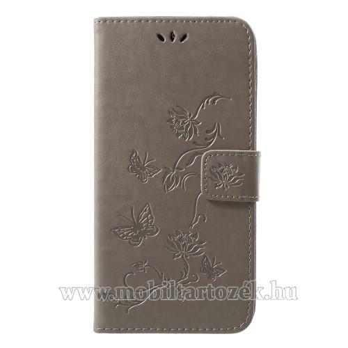 Notesz / mappa tok - PILLANGÓ / VIRÁG MINTÁS - SZÜRKE - oldalra nyíló, rejtett mágneses záródás, belső zseb, asztali tartó funkció, szilikon belső - APPLE iPhone Xr