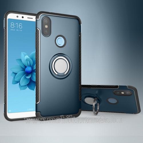 OTT! METAL RING szilikon védő tok / hátlap - VILÁGOSKÉK - fém ujjgyűrű, tapadófelület mágneses autós tartóhoz, szilikon betétes, kitámasztható, karbon minta - ERŐS VÉDELEM! - Xiaomi Mi 6X / Xiaomi Mi A2