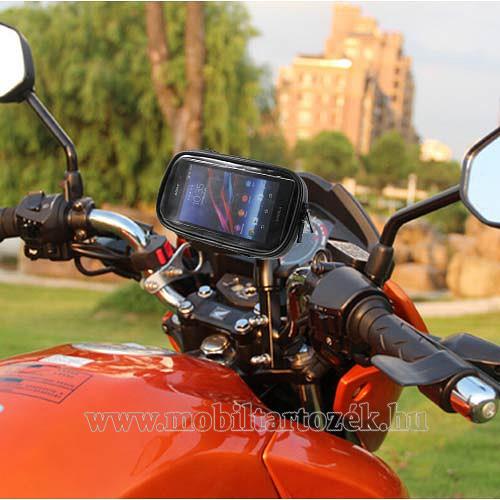 UNIVERZÁLIS motoros telefon tartó - 360°-ban forgatható, 165 x 90mm-es zárt, zipzáras bölcsővel - FEKETE