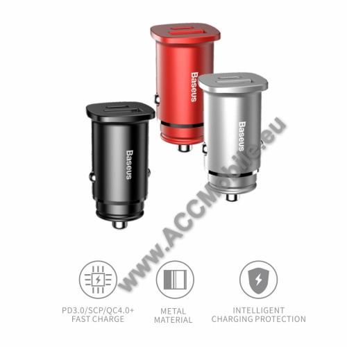 BASEUS szivargyújtós töltő / autós töltő - 1 x USB aljzat: 4.5V/5A, 5V/4.5A, 9V/3A, 12V/2A, USB Type-C aljzat: 4.5V/5A, 5V/4.5A, 9V/3A, 12V/2A, 15V/1.5A, 20V/1.2A, kábel NÉLKÜL! - FEKETE - GYÁRI