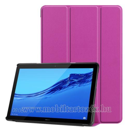 Notesz / mappa tok - LILA - oldalra nyíló flip cover, TRIFOLD asztali tartó funkciós, mágneses záródás - HUAWEI MediaPad T5 10