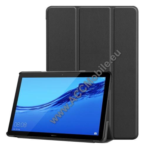 HUAWEI MediaPad T5 10Notesz / mappa tok - FEKETE - oldalra nyíló flip cover, TRIFOLD asztali tartó funkciós, mágneses záródás - HUAWEI MediaPad T5 10