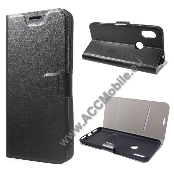 CRAZY notesz tok / flip tok - FEKETE - asztali tartó funkciós, oldalra nyíló, rejtett mágneses záródás, bankkártya tartó zsebekkel, szilikon belső, Fedlapba épített acéllemezzel, ERŐS VÉDELEM! - Xiaomi Redmi Note 6 Pro