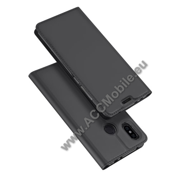 DUX DUCIS slim design notesz / mappa tok - SÖTÉT SZÜRKE - oldalra nyíló flip cover, asztali tartó funkció, szilikon belső, mágneses záródás - Xiaomi Redmi Note 6 Pro - GYÁRI