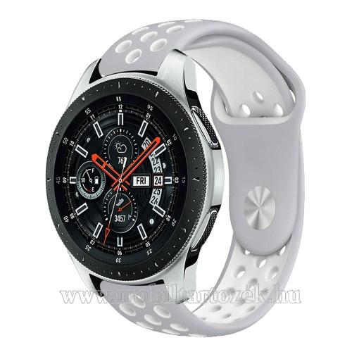 Okosóra szíj lyukacsos, légáteresztő - SZÜRKE / FEHÉR - 22mm széles - SAMSUNG Galaxy Watch 46mm / SAMSUNG Gear S3 Classic / SAMSUNG Gear S3 Frontier