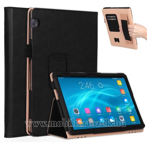 Notesz tok / mappa tok - FEKETE - asztali tartó funkciós, oldalra nyíló, bankkártya tartó, csuklópánt, műbőr belső - HUAWEI MediaPad T5 10
