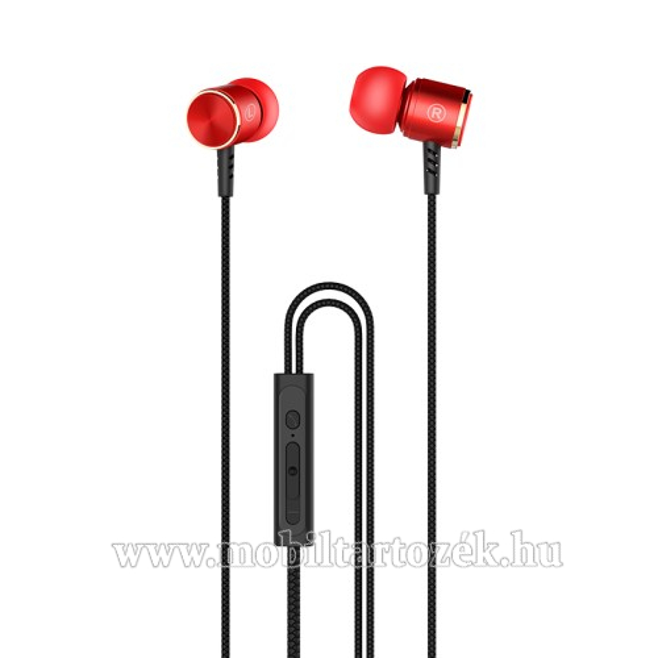 HOCO M42 sztereo headset - 3,5mm Jack, mikrofon, felvevő gomb, 1,2 m vezetékkel - PIROS