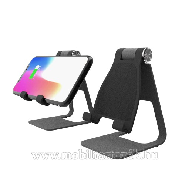 YOGEE UNIVERZÁLIS asztali töltő / alumínium állvány - QI Wireless vezetéknélküli töltő funkció, 10W (max), 270 fokos szögben állítható, maximum 1cm vastag készülékkel használható! - FEKETE