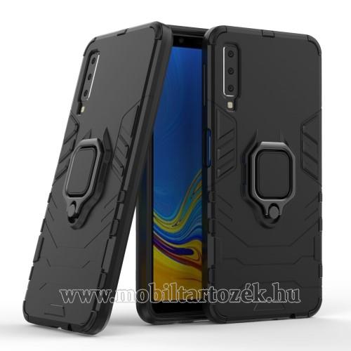 TRANSFORM PRO műanyag védő tok / hátlap - FEKETE - szilikon betétes, kitámasztható, fém ujjgyűrűvel - ERŐS VÉDELEM! - SAMSUNG SM-A750F Galaxy A7 (2018)