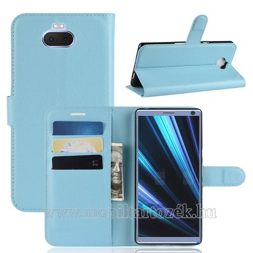 Notesz tok / flip tok - KÉK - asztali tartó funkciós, oldalra nyíló, rejtett mágneses záródás, bankkártyatartó zseb, szilikon belső - SONY Xperia 10