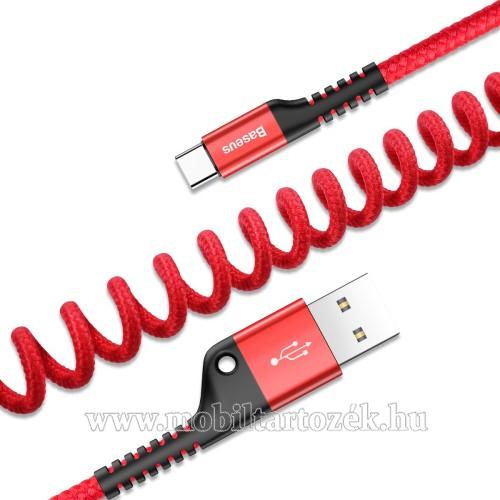 BASEUS adatátvitel adatkábel és USB töltő - spirál szövettel bevont kábel - USB / Type C, 100cm (max!), 2A - PIROS - GYÁRI