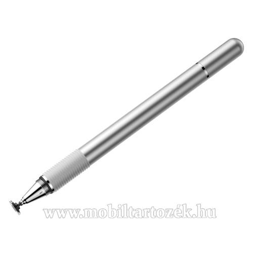 BASEUS érintőképernyő ceruza / golyós toll - kapacitív kijelzőhöz, KÉZÍRÁSRA, RAJZOLÁSRA ALKALMAS - EZÜST - GYÁRI