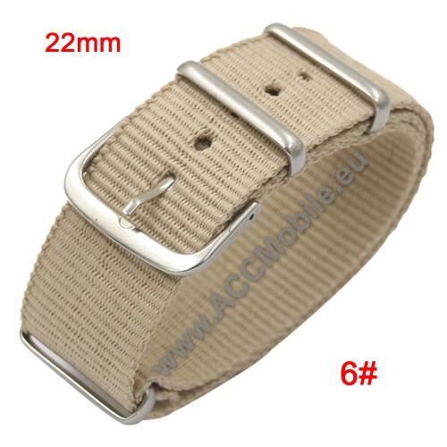 Okosóra szíj - szövet, 22mm széles - BÉZS - SAMSUNG Galaxy Watch 46mm / SAMSUNG Gear S3 Classic / SAMSUNG Gear S3 Frontier
