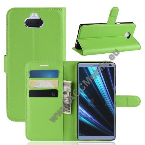 Notesz tok / flip tok - ZÖLD - asztali tartó funkciós, oldalra nyíló, rejtett mágneses záródás, bankkártyatartó zseb, szilikon belső - SONY Xperia XA3