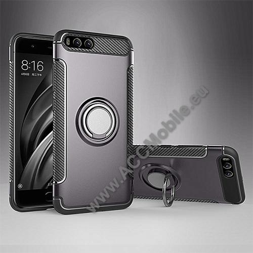 OTT! METAL RING szilikon védő tok / hátlap - SZÜRKE - fém ujjgyűrű, tapadófelület mágneses autós tartóhoz, szilikon betétes, kitámasztható, karbon minta - ERŐS VÉDELEM! - Xiaomi Mi 6