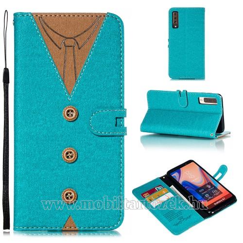Notesz / mappa tok - ÖLTÖNY MINTÁS - KÉK - oldalra nyíló, rejtett mágneses záródás, belső zseb, asztali tartó funkció, szilikon belső - SAMSUNG SM-A750F Galaxy A7 (2018)