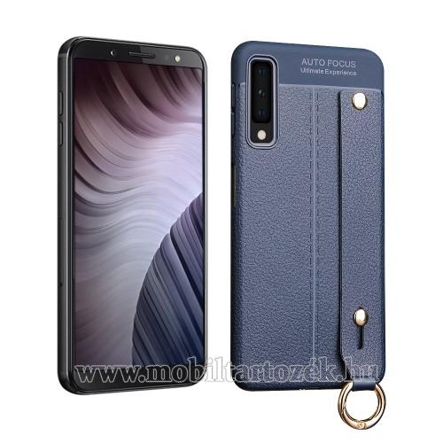 OTT! LEATHER SERIES szilikon védő tok / bőrhatású hátlap - SÖTÉTKÉK - ERŐS VÉDELEM! - csuklópánt - SAMSUNG SM-A750F Galaxy A7 (2018)