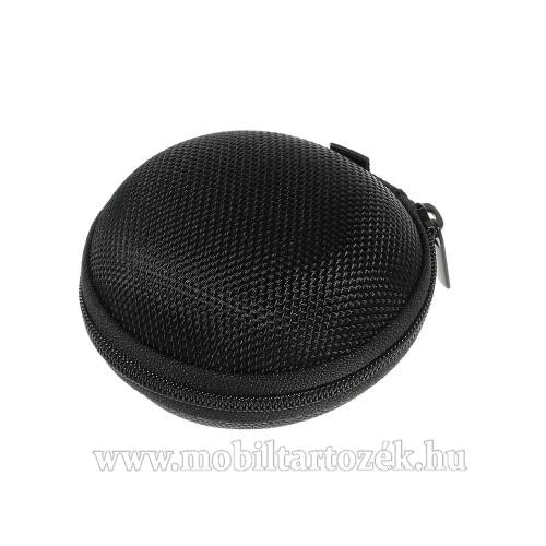 Fülhallgató / headset / james bond textil tok - cipzáras, puha bélés - 80 x 80 x 30mm - FEKETE