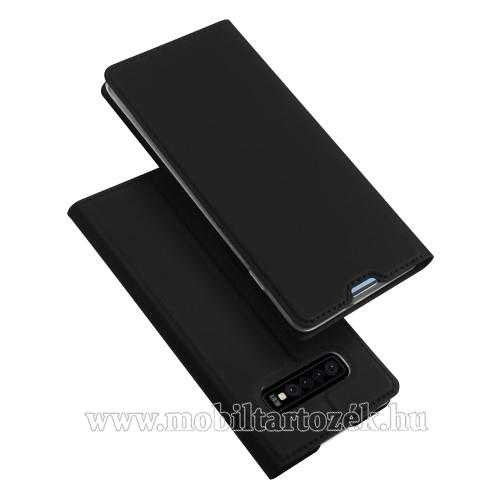 DUX DUCIS slim design notesz / mappa tok - FEKETE - oldalra nyíló flip cover, asztali tartó funkció, szilikon belső, mágneses záródás - SAMSUNG SM-G973F Galaxy S10 - GYÁRI